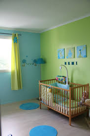 chambre vert anis et turquoise