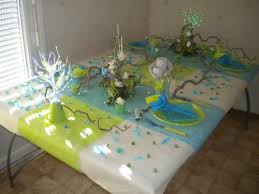 deco table bleu turquoise vert anis