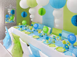 decoration bapteme turquoise vert anis