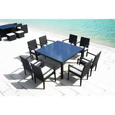 table carre resine tressee 8 personnes luxe 140 cm